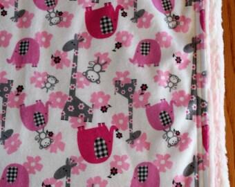 Safari Baby Girl Minky Blanket, Giraffe Baby Blanket, Toddler Girl Safari Minky Blanket, Safari Nursery Baby Blanket, Ultra Soft Blanket!!!