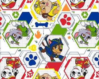 White Paw Patrol Mission Pawsible Cotton Fabric fat quarter yard nickelodeon woven characters quilting material kids