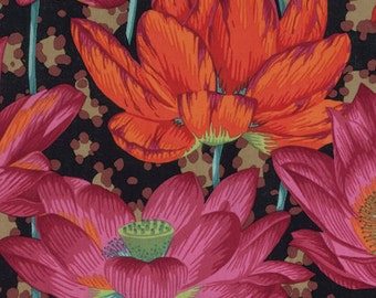 Kaffe Fassett Fall 2016 Leopard Lotus in Black by Philip Jacobs = flowers floral quilt cotton fabric by the yard metre PWPJ081.BLACK