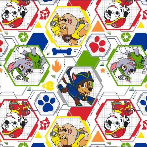 White paw patrol mission pawsible cotton fabric for Kids character fabric