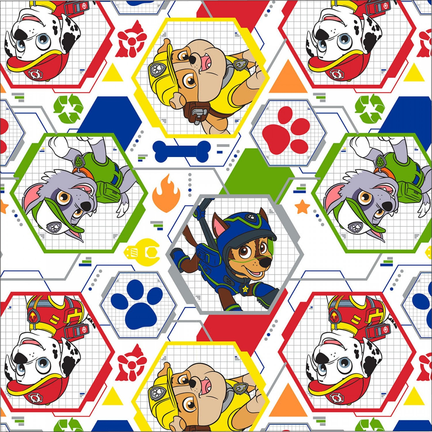 White paw patrol mission pawsible cotton fabric for Children s character fabric
