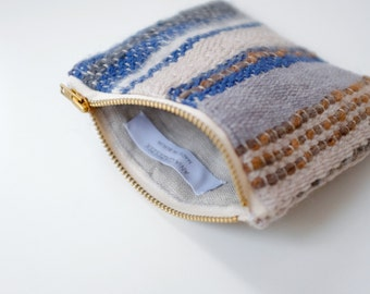 Woven zipper pouch, Boho makeup bag, Travel organizer, Statement evening clutch, One of a kind purse, For her, Woman pouch, Neutral colors
