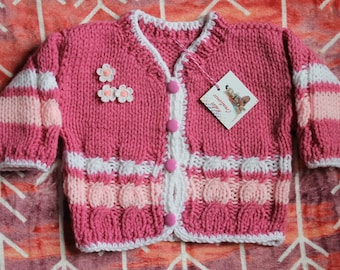 Hand-Knit Sweater Cardigan for Babies, Acrylic.