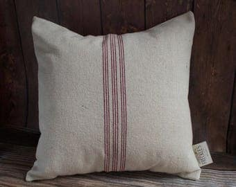 Grain Sack Pillow COVER ONLY. Farmhouse Style Pillow.  Farmhouse Decor. Vintage decor Pillow. Cream Linen with Red Stripes. 9 Red Stripe