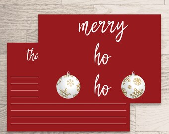 Thank You Card Instant Download- Noel Collection- Red Holiday Thank You Printable Ornaments White Gold Write Note Dinner Party