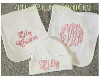 3 Piece Monogrammed Bib, Cap and Burp Cloth Set Personalized cap, burp cloth and hat set baby gift set new baby