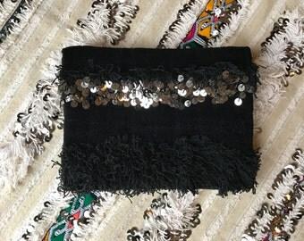 Black Handira Moroccan Wedding Blanket Large Foldover Clutch Bag Boho Coachella Silver Sequins Embellished