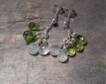 Beautiful Peridot and Moonstone Sterling silver earrings, handmade in Scotland, August birthstone, would make a wonderful gift, Magic.