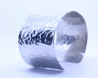 Sterling silver extra wide hammered cuff bangle, silver cuff bangle, silver cuff bracelet, hammered bangle, silver bangle, extra wide, big