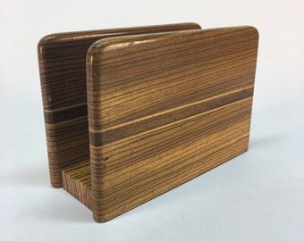 Vintage zebrawood napkin/letter holder