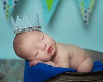 Newborn Crown, Blue Crown, Newborn Photo Prop, Lace Crown, Photo Prop, Baby Crown