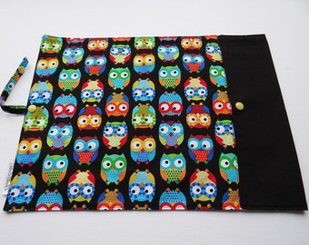 Lunch placemat with ties - multicolored owls