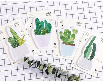 Cute Cactus Sticky Notes, Succulent Planner Notes, Cute Sticky Pad, Memo Note, Green Plant, Post It Note, Adhesive Paper, Kawaii Stationery