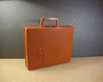 1977 Fisher Price Medical Kit Case Only Vintage Brown Plastic Toy Doctor Kit Case
