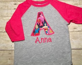 Girls superhero shirt, supergirl, personalized girls superhero shirt, superhero birthday party, spring fall or winter shirt, pink baseball