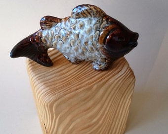 "Skulpur ""fish on wood"" wood art"