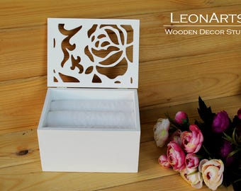 Wedding Ring Bearer Box with roses-Plywood Ring Keepsake Box-White Roses Ring Holder-Engagement ring box-Wedding Gift-Wedding proposal box