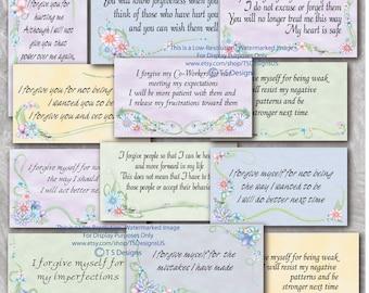 Affirmations- Forgiveness Affirmation Cards- Floral Design