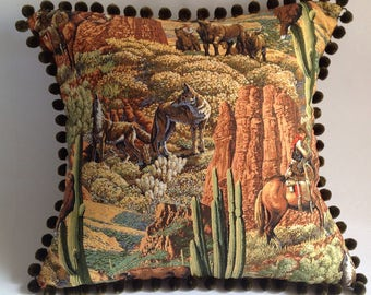 Cactus Western cowboy wolves, red rocks,  print cushion cover with pom pom fringing. Retro inspired pillow cover, home decor