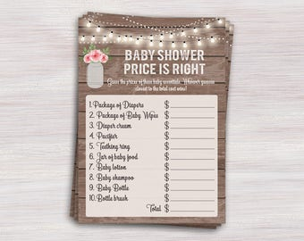 Baby Price Is Right, Floral Baby Shower Games, Rustic Wood Mason Jar Baby  Shower