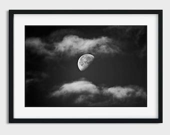 Moon Print, Moon Photo, clouds print, Instant Download, Moon Photography, Moon Printable Art, night sky print, Moon Art, Moon Poster, Moon