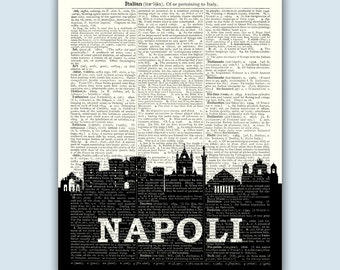 Naples Italy Skyline, Naples Wall Art, Naples Wall Decor, Naples Italy Art, Napoli Italia, Naples Italy Decor, Naples Italy Print