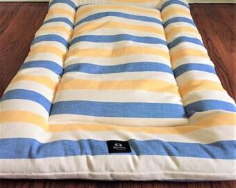 Clearance - Nautical Beach Stripes Dog Bed, Dog Crate Pad, Dog Bed, Dog Crate Bed, Puppy Bed