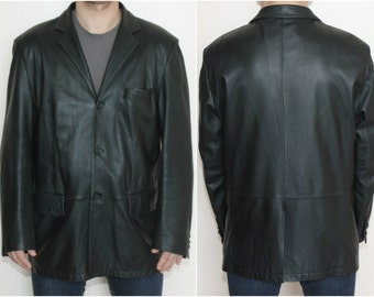 Vintage Leather Jacket 90s Black Anorak Jacket Classic Leather Jacket Coat Bottons on Front Two Side Pockets Three Inside One on Chest Sz XL