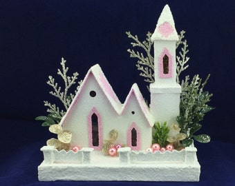White and Pink Putz Church Little Glitter House Christmas Village