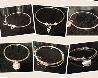 Handmade Sterling silver bangles with charms
