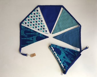 Eiffel blue - double-sided fabric bunting