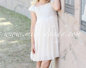 Ivory Cream flower girl dress, Crochet Lace baby dress, Rustic flower girl dress, Country flower girl dress, Lace girls dresses, Flower girl