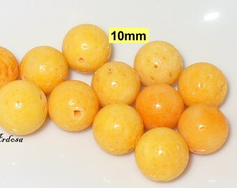 12 coral Pearl yellow orange 10 mm (K750. 1)