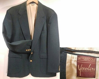 Vintage Green Blazer, 44R, Gold Colored Buttons, Fully Lined, 2 Button Front, Single Vent, Wynbrooke by Younkers Excellent Condition