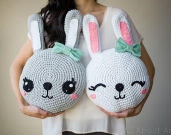 Snuggle Bunny Pillows Crochet Pattern
