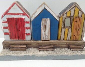 279  - wood beach hut  little wood house nautical wood art