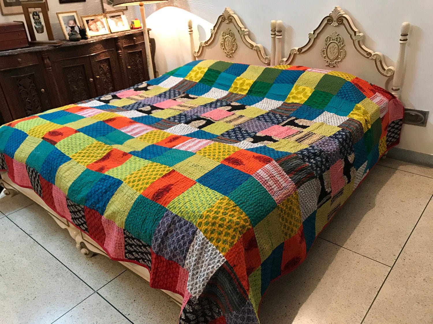 Cool Patchwork King Size Quilt 100% cotton-Reversible-Multipurpose ... : cool quilts for sale - Adamdwight.com