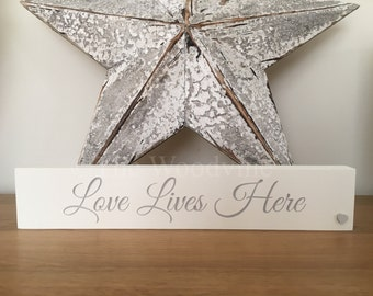 Love Lives Here Engraved Plinth Plaque