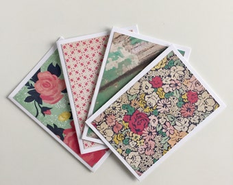 Assorted mini notecards, shabby chic note cards, rustic stationery cards, floral cards, gifts under 5, gift for her, small blank cards
