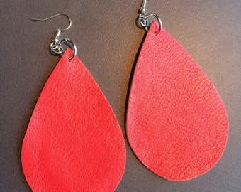XLarge Teardrop red leather earrings, red leather teardrop earrings, red leather earrings