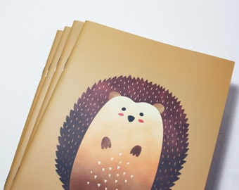 A5 Cute Hedgehog Notebook. 20 lined pages. Matte lamination pleasant to the touch.