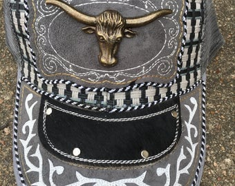 Western leather concho caps