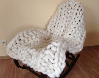HAND KNITTED 100% MERINOwool Blanket Chunky Blanket cozy wool Blanket