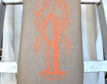 Lobster teatowel, orange, 100 % linen