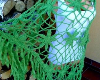 Green Shawl with Fringe Long Shawl Green  Shawl Fairy Shawl Wrap Irish Celtic Khaki Green Shawl