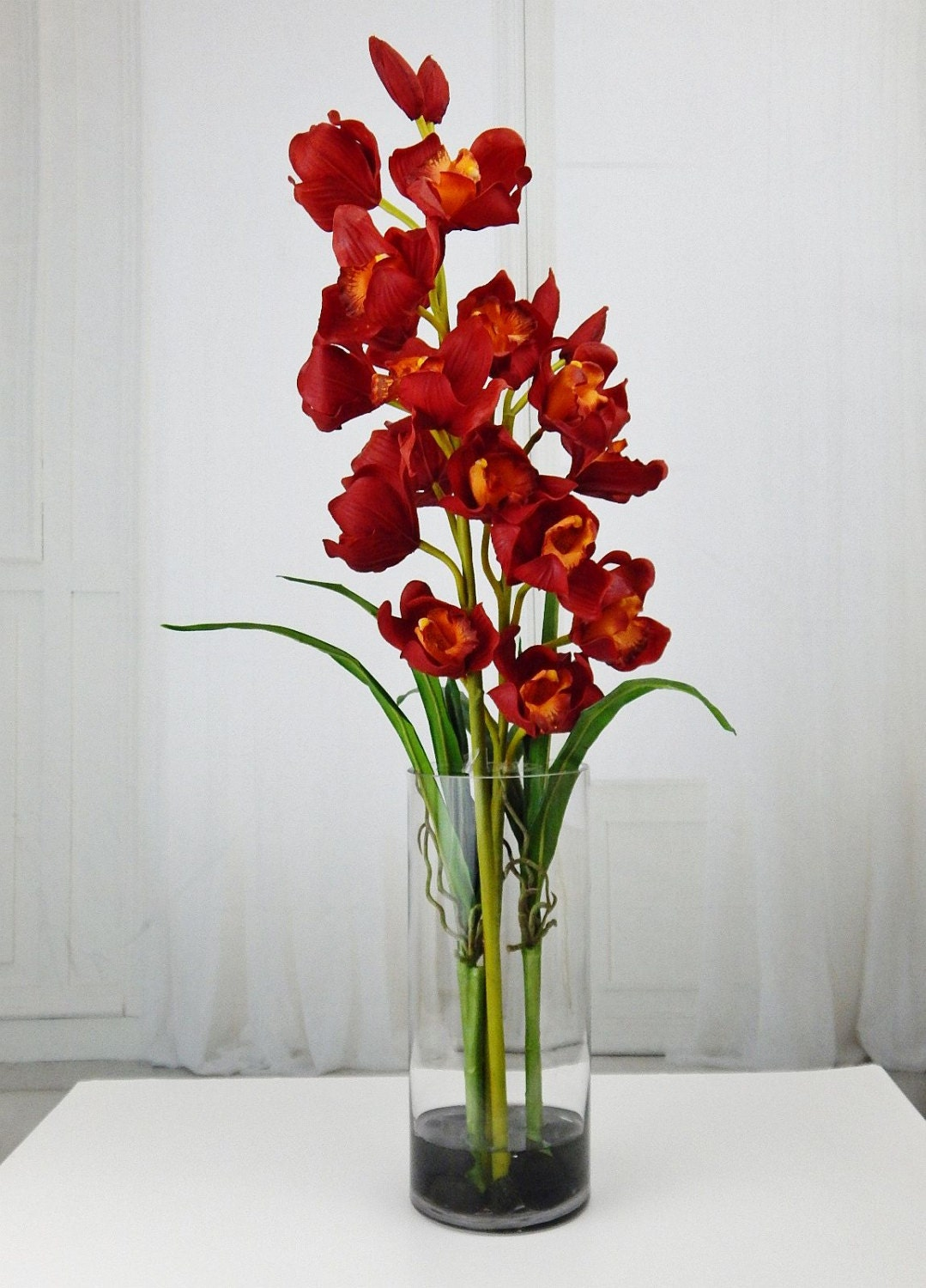 Red cymbidium orchids acrylic water faux silk real touch gallery photo gallery photo gallery photo reviewsmspy