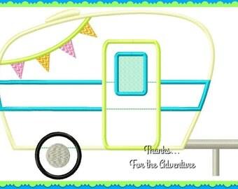 Vintage Glamper Travel Trailer Camper Tent RV Digital Embroidery Machine Applique Design File 4x4 5x7 6x10