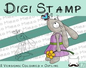 Digital stamps, Digi stamp rabbit girl with butterfly, 2 versions: outlines, in color