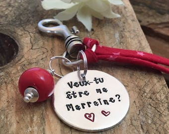 Hand Stamped Veux tu être ma Marraine?, Personalised French Godmother Keyring