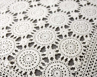 Vintage Crochet Doily, handmade off white cotton doily, rectangular doily, vintage doilies, vintage lace